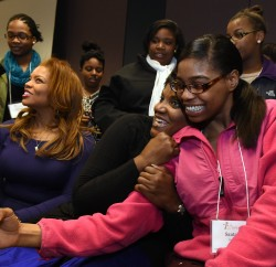Santaija Bethea, a senior at Corcoran H.S. takes a selfie with actress Anna Maria Horsford when students from the Syracuse Central School District attended the Sisters Empowering Sisters Conference. Photo By John Berry.