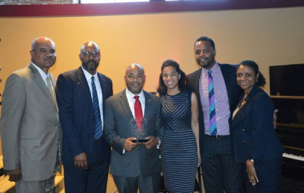 July 22, 2015, Carl Heastie was presented with an award for being the first African American Speaker from the William H. Johnson Bar Association, the SUNY EOC Association of Directors in conjunction with the CNY Network and the Latino Professional Network. Photo L to R: Henry Hayes Melchor, Tin Penx, Assemblyman Carl Heastie, Lanessa Nes Owens, Joseph Bryant and Lisa. Photo by LaVergne Harden