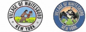 (Left) Original version of Whitesboro seal; (Right) updated version of village seal