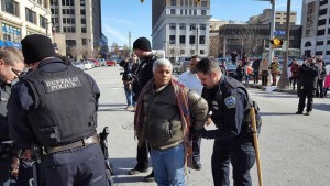 Former BPD Officer Cariol Horne is arrested during a protest following the police-involved death of 20-year-old Wardel Davis.