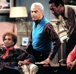 """""""The Cosby Show"""" cast members Lisa Bonet, Clarice Taylor, Earle Hyman, Bill Cosby and Phylicia Rashad on set. Photo: The SUN"""