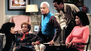 """The Cosby Show"" cast members Lisa Bonet, Clarice Taylor, Earle Hyman, Bill Cosby and Phylicia Rashad on set. Photo: The SUN"