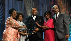Rev. Jesse Jackson Sr. and his wife, Jacqueline, receives the Phoenix Award for Lifetime Achievement from CBCF Board Chair Sheila Jackson Lee (D-Texas); U. S. Rep. Maxine Waters (D-Calif.) and U. S. Rep. Bobby Rush (D-Ill) PHOTO: Roy Lewis/Trice Edney News Wire